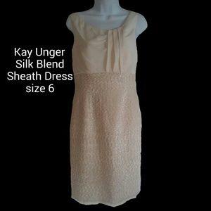 Kay Unger Silk Blend Sheath Dress Natural Sz 6 EUC